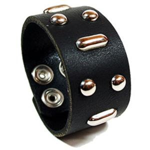 Hunter Thompson Leather Bracelet - Black Thumbnail