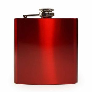 6 oz. Gloss Red Laserable Stainless Steel Flask Thumbnail